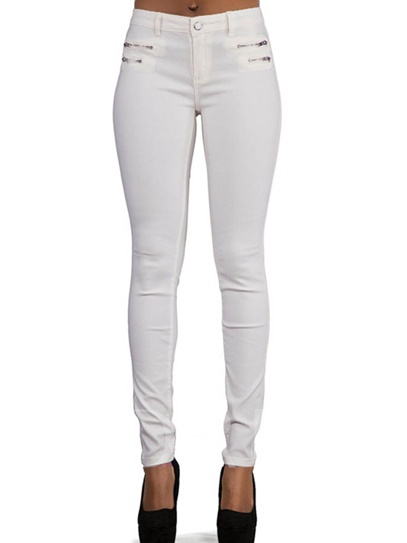 Plain Skinny PU Pocket Women's Jeans