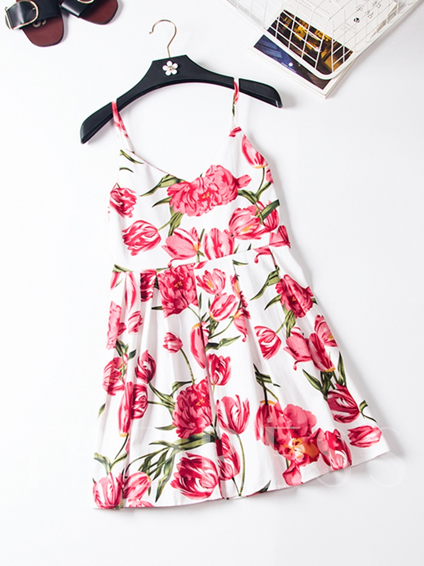 Spaghetti Strap Pleated Floral Print Women's Day Dress