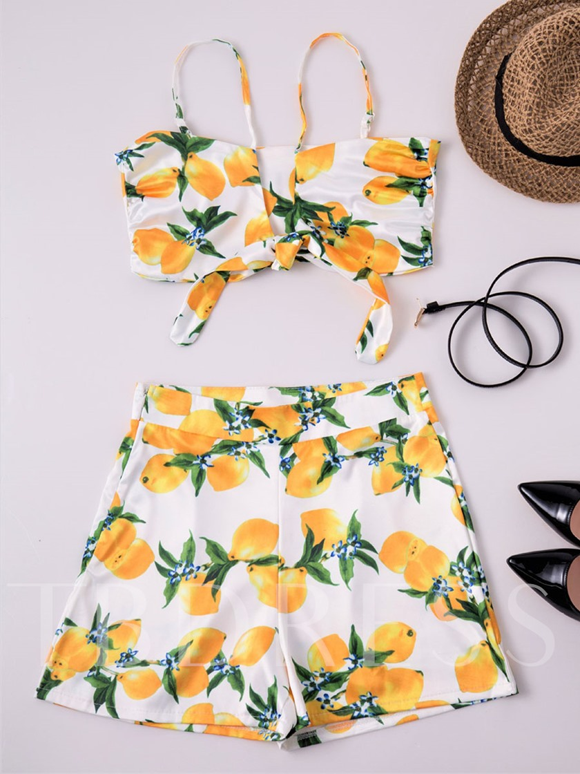 Backless Floral Printed Off Shoulder Ruffle Women's Two Piece Set