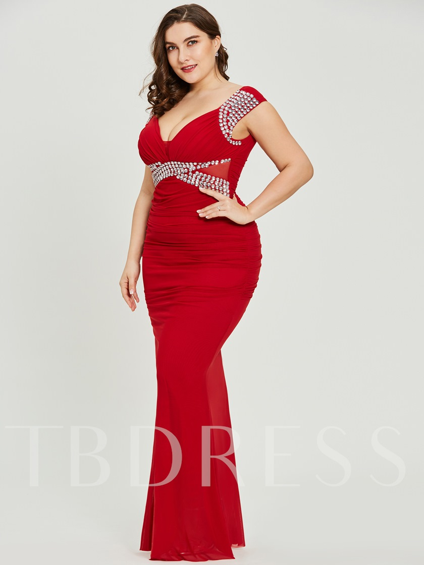 Cap Sleeves Sheath Beading Plus Size Evening Dress