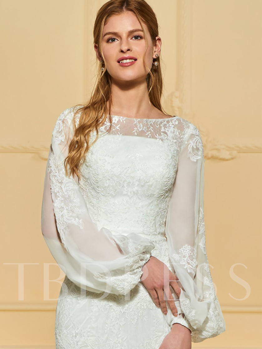 Puff Long Sleeve Mermaid Lace Wedding Dress