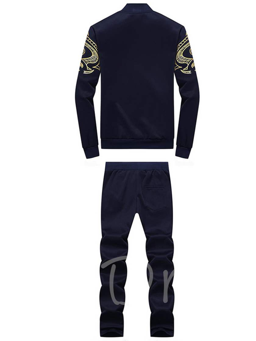 Stand Collar Gold Print Slim Men's Sports Suit