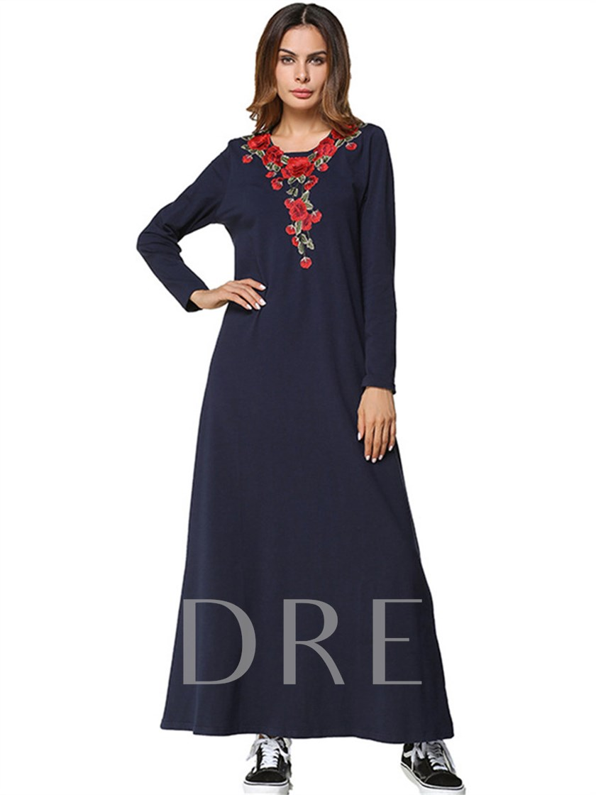 Dark Blue Long Sleeve Printing Womens Maxi Dress Sold Out