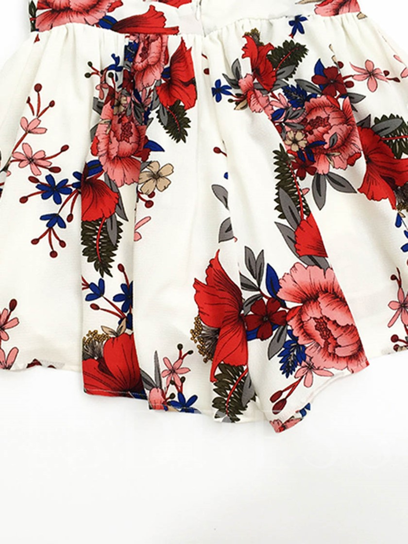 Floral Print Loose High Waist Women's Rompers
