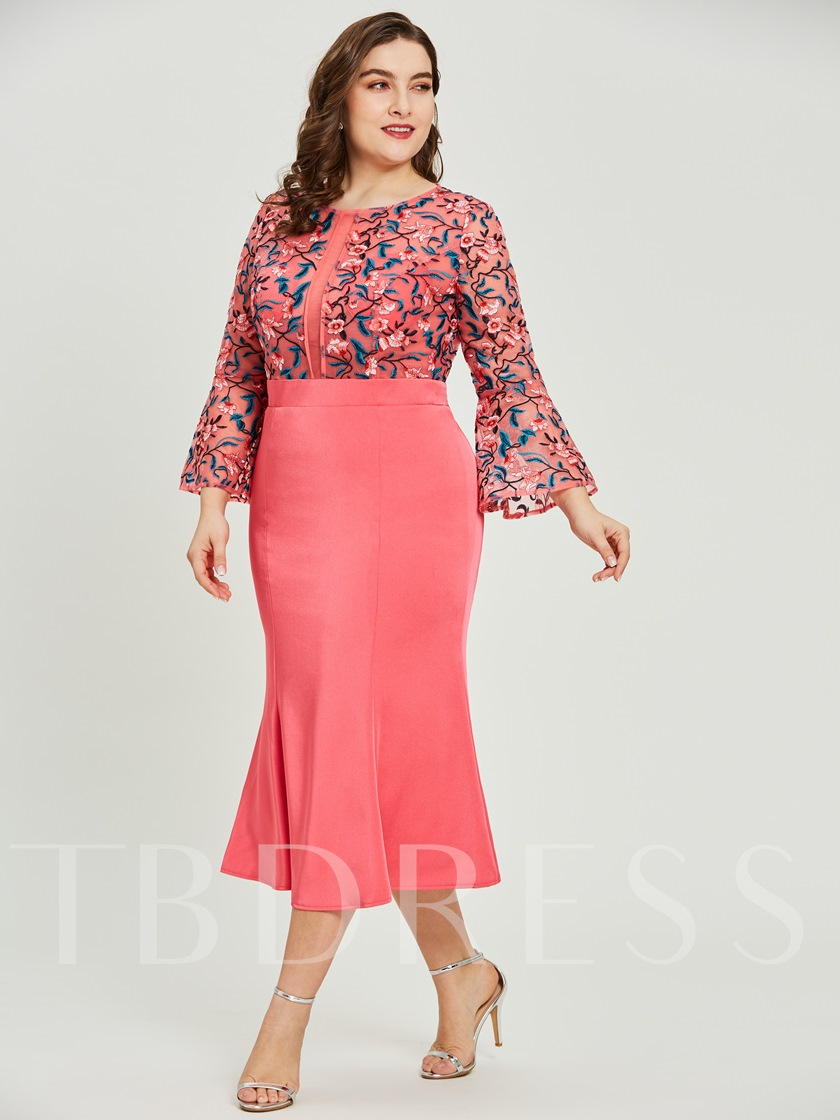 Scoop Neck Embroidery Mermaid Plus Size Evening Dress