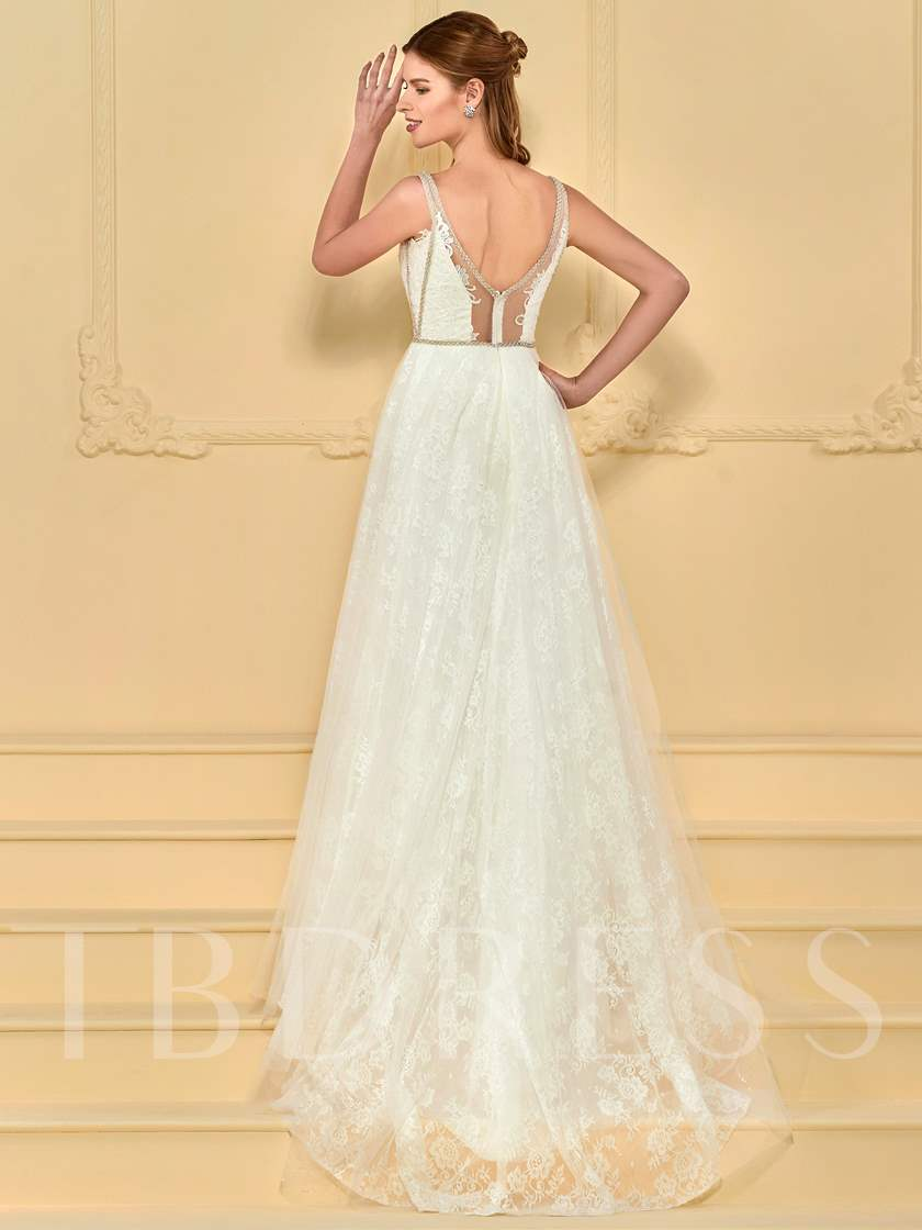 A-Line Beading Lace Wedding Dress