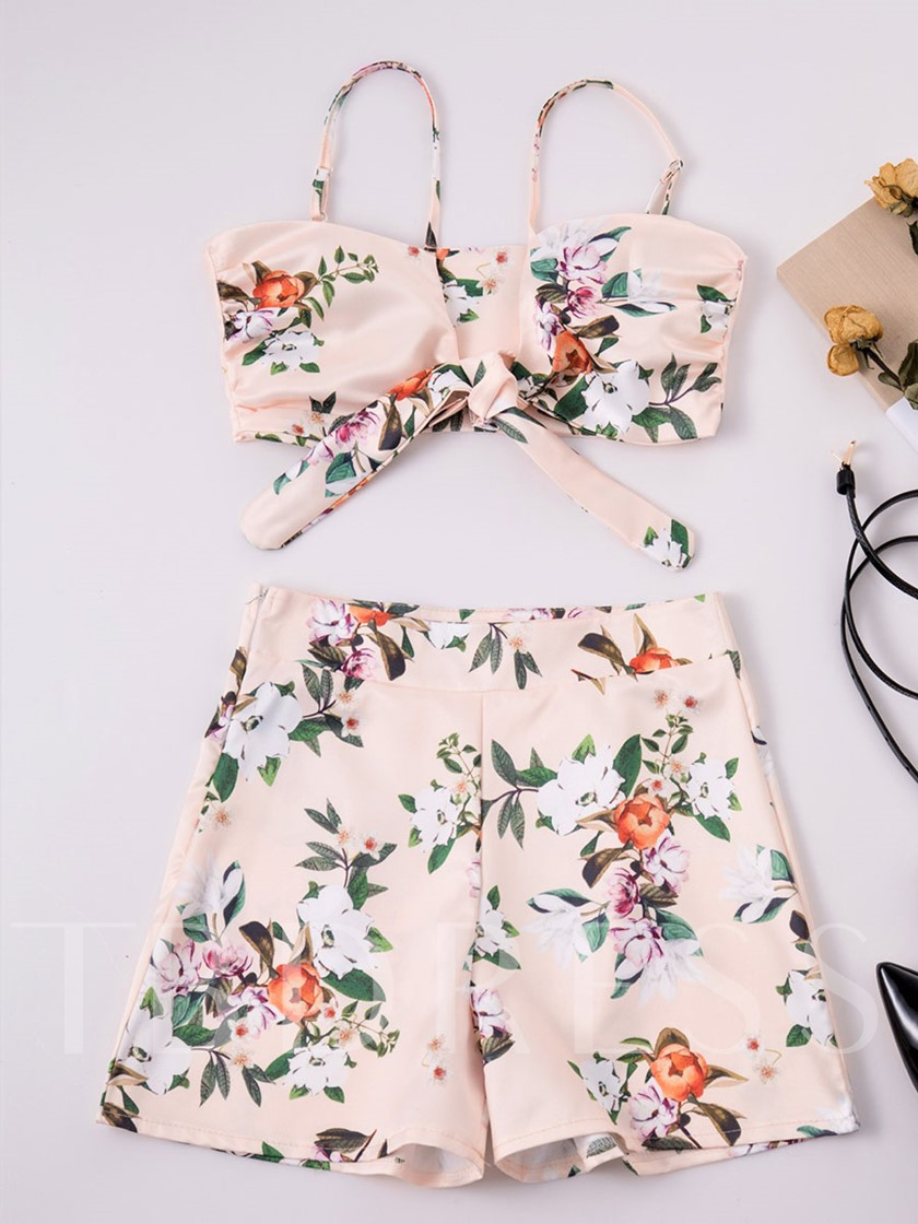 Floral Printed Off Shoulder Women's Two Piece Set