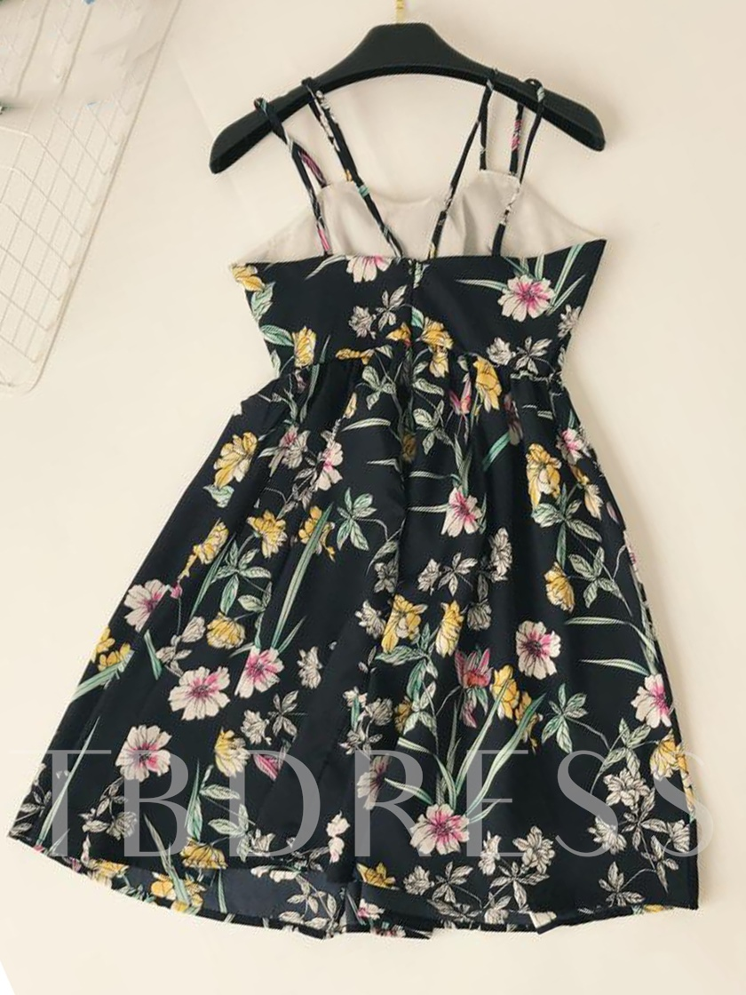 Floral Print Double Spaghetti Strap Lace-Up Women's Day Dress