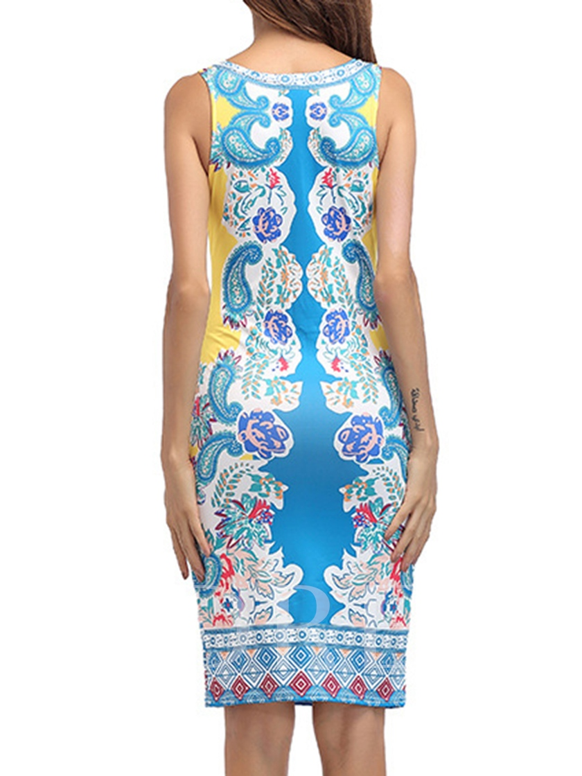 Round-neck With Print Pattern Women's Bodycon Dress