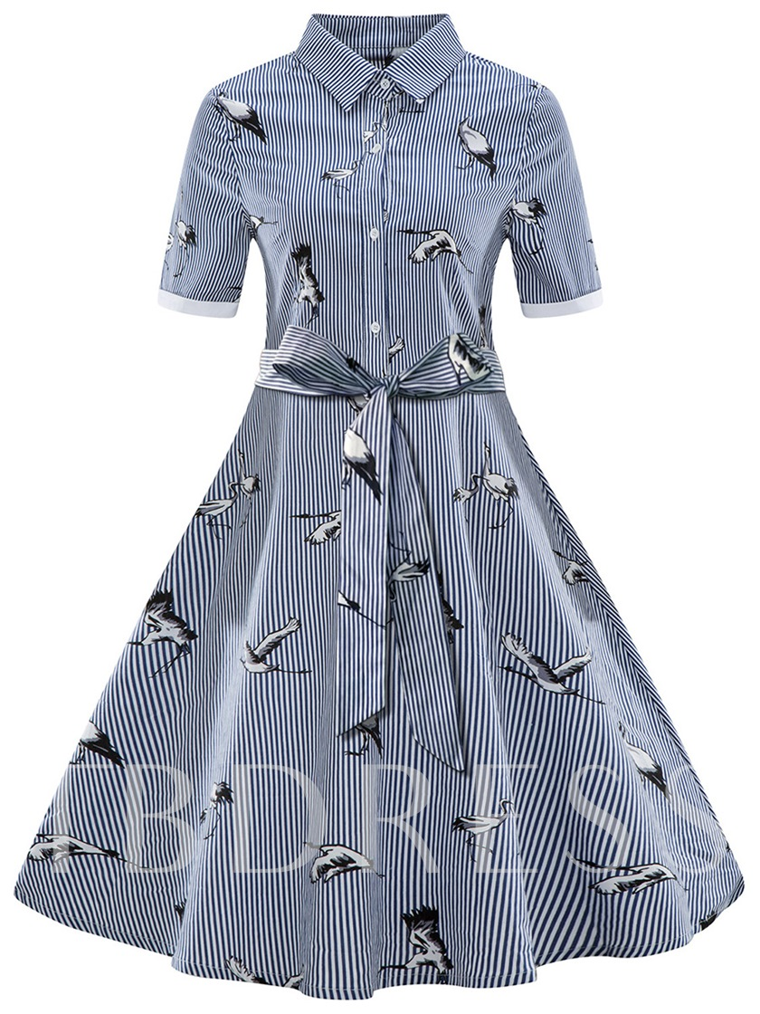 Plus Size Lapel Printing Women's Day Dress