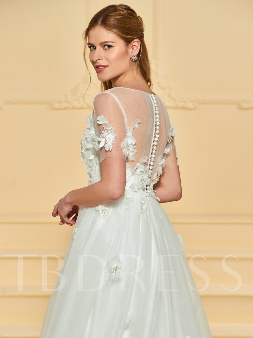 Buttoned Back Flowers Appliques Wedding Dress