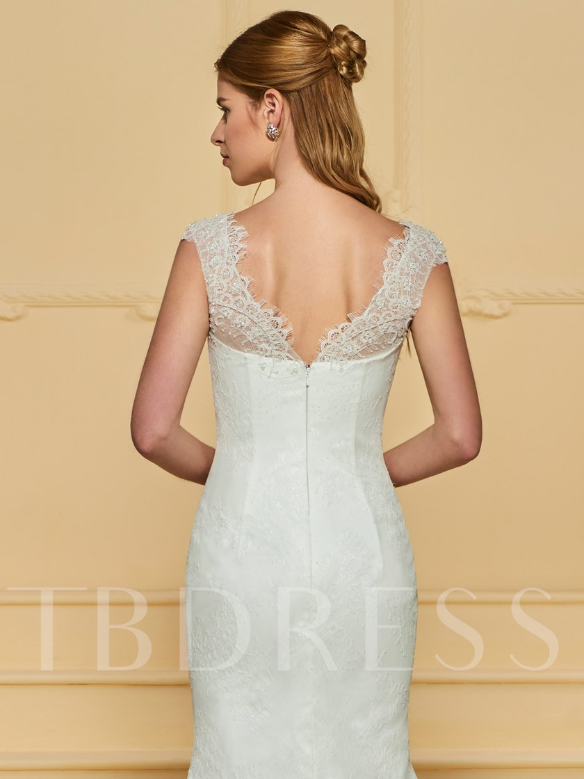 V-Neck Beading Mermaid Lace Wedding Dress