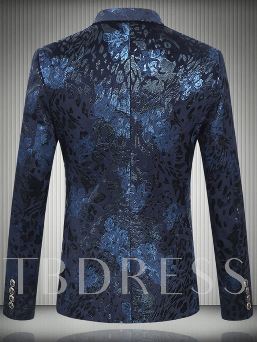 Notched Collar Floral Printed Double-Button Slim Men's Casual Blazer