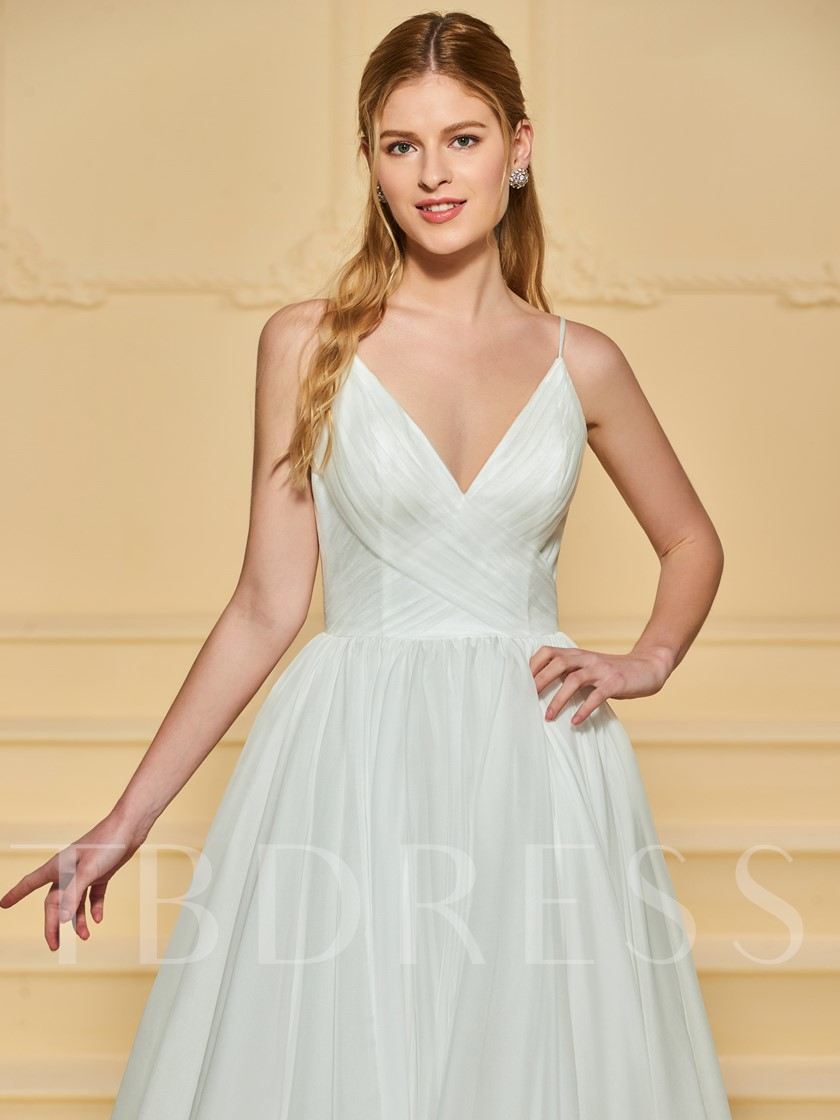 Spaghetti Straps Pleats Beach Wedding Dress
