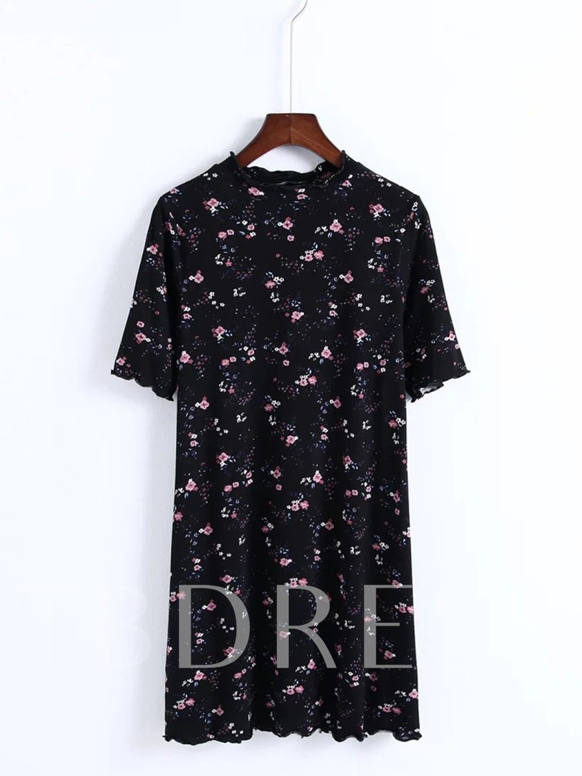 Floral Short Sleeve Women's Day Dress