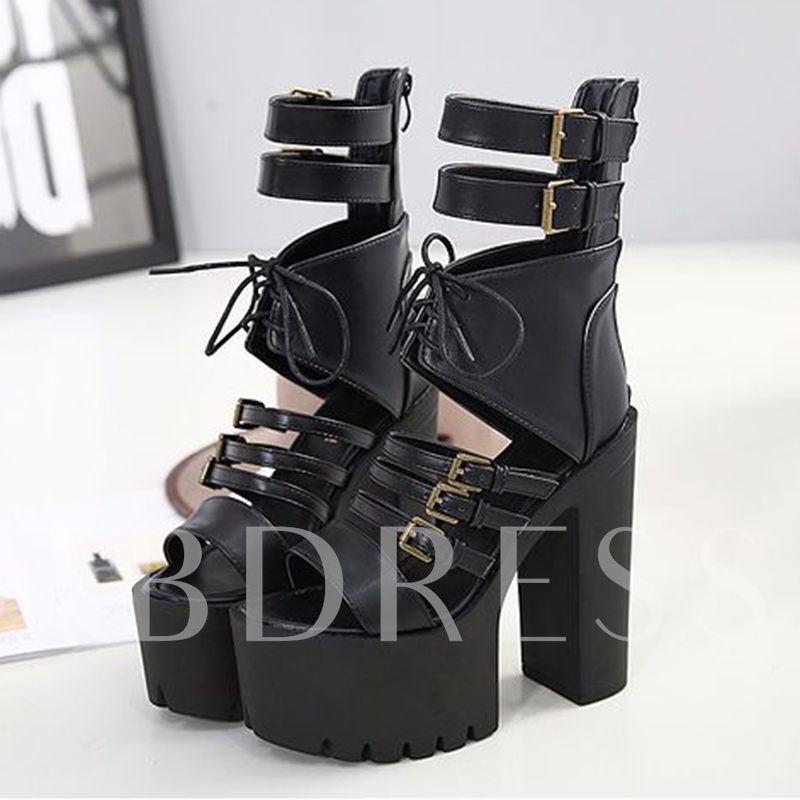 Buckle Punk Style Chunky Heel Black Sandals