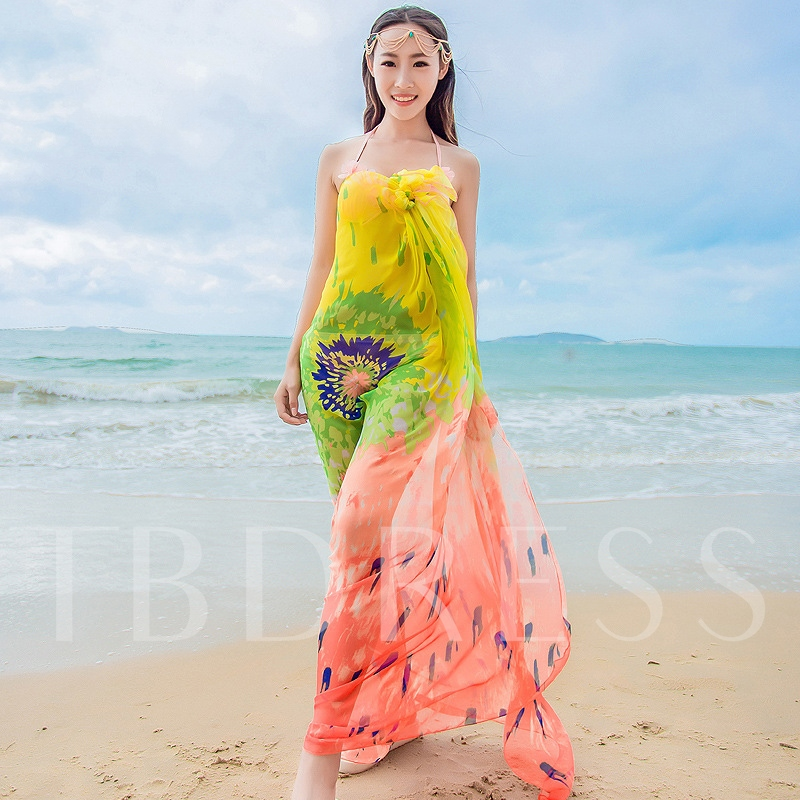 Sunflowers Chiffon Sun Block Beach Scarfs