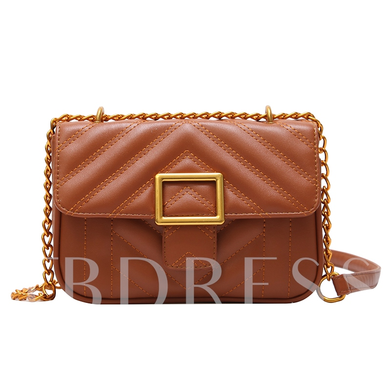 Casual Plain Chain Women Cross Body Bag