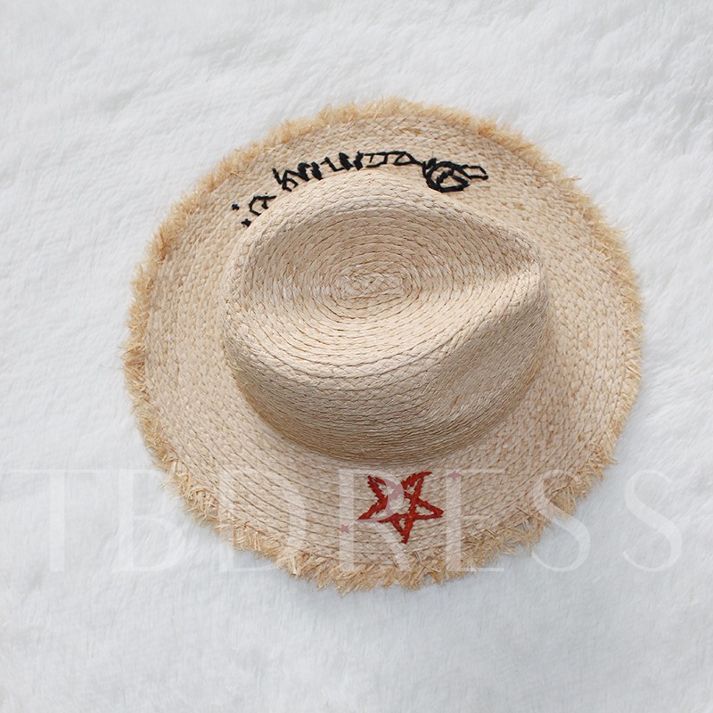 Embroidery Lafite Straw Beach Hats
