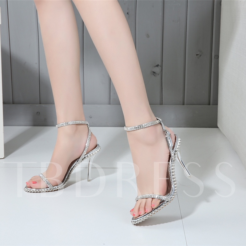 Rhinestone Open Toe Ankle Strap Simple Sandals for Women