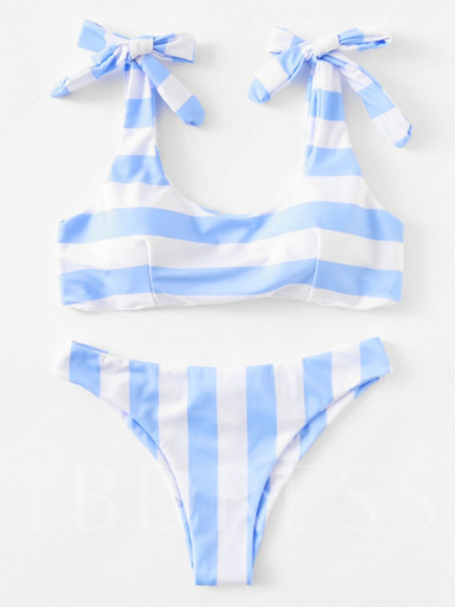 Blue And White Striped Bowknot Ruffle Women's Bikini Set