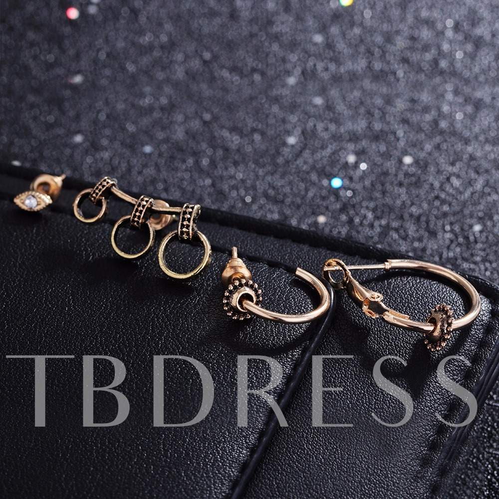 Alloy Overgild Loop Eye Shaped Earrings