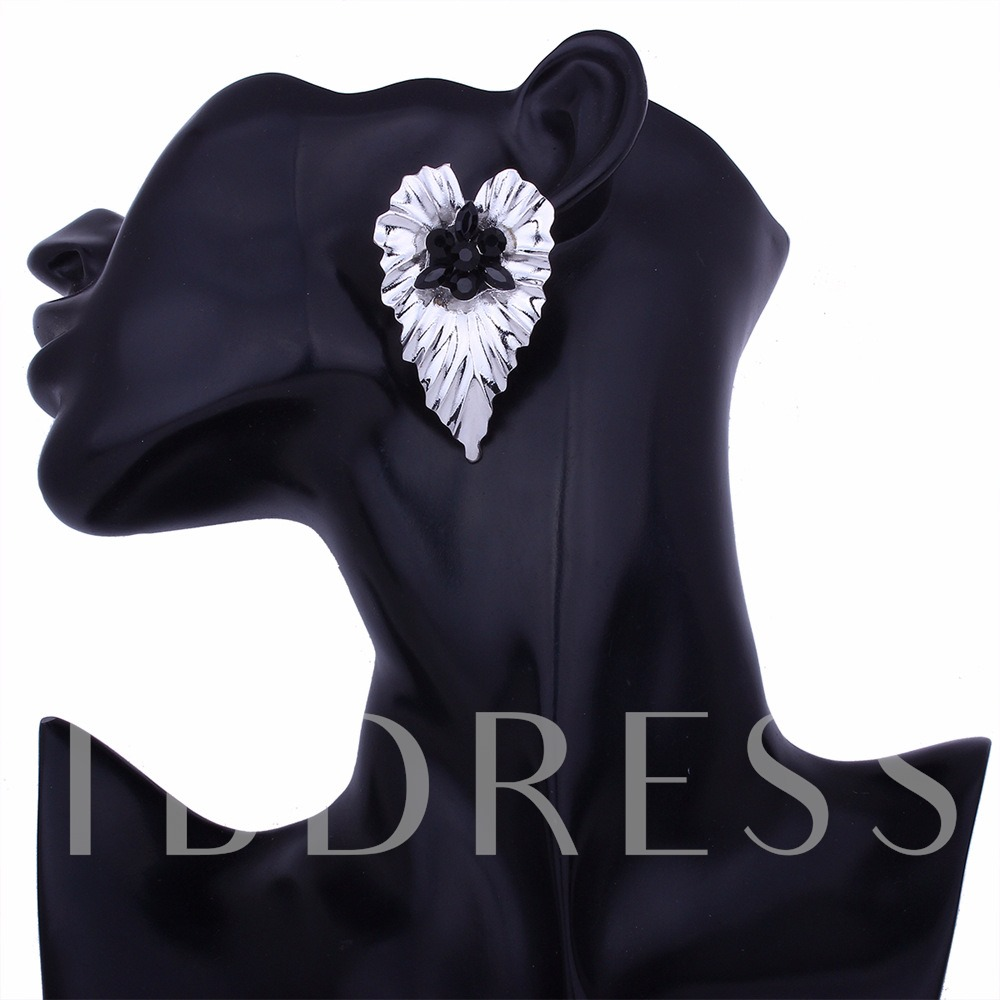 Metal Rhinestone Heart Shaped Earrings