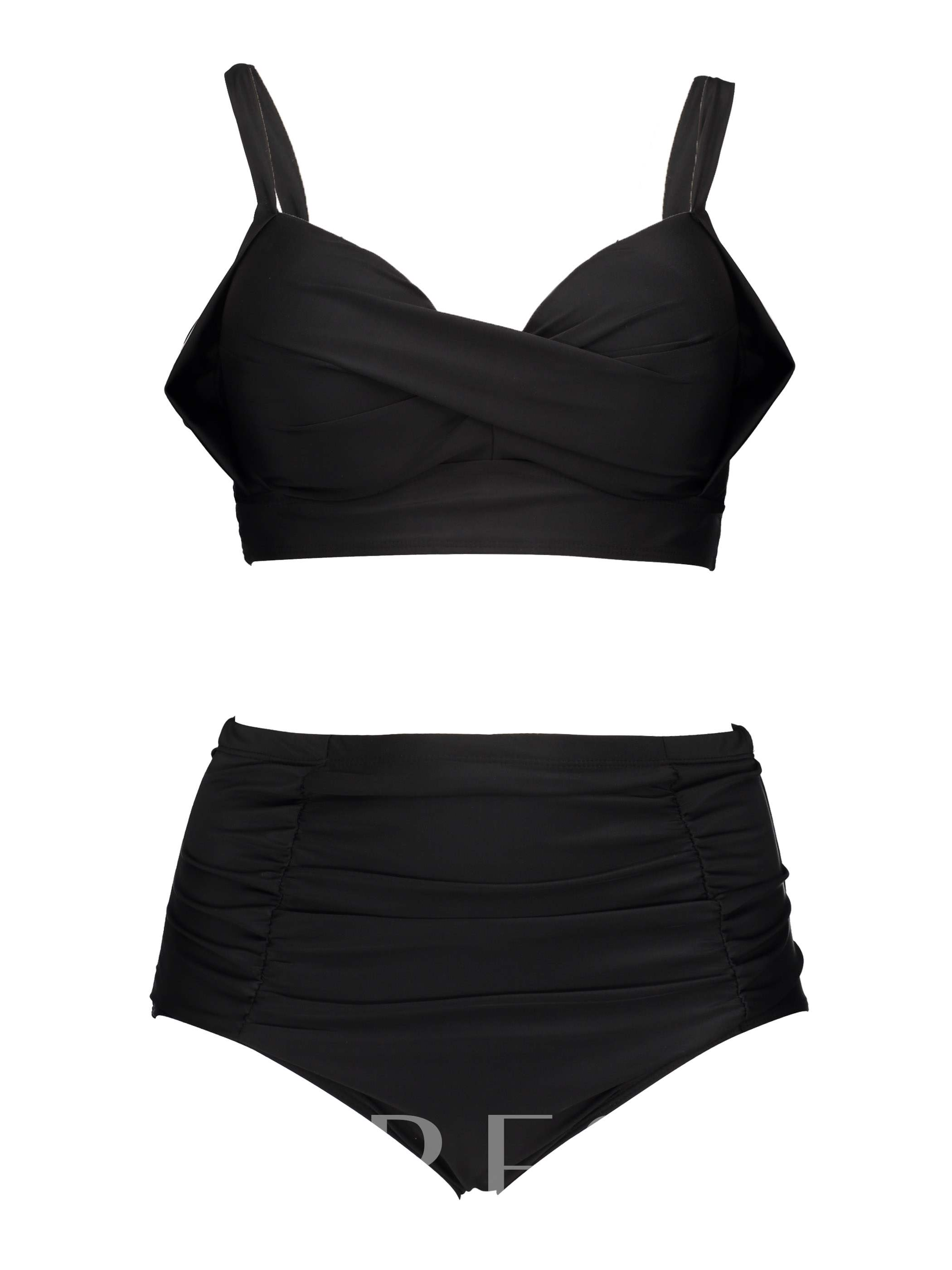 Sexy Pleated High Waisted Swimsuit Plus Size Bikini Set