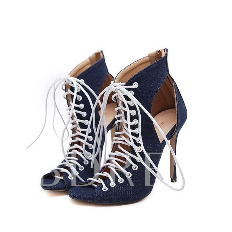 Blue Canvas Lace Up Peep Toe Shoes for Women