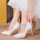 Lace Flower White Pearl Wedding Shoes for Bridal