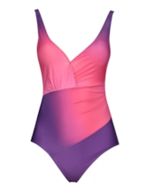 Pleated Gradient One Piece Swimsuit