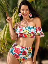 Off-The-Shoulder Falbala Rose Print Bikini Set
