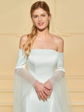 Off the Shoulder Mermaid Backless Wedding Dress with Sleeve