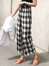 Loose Plaid Wide Legs High Waist Women's Casual Pants