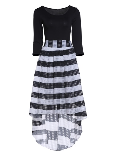 Round Collar High Waist Stripe Bowknot Women's Skirt Suit