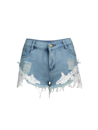 Mid-Waist Hole Appliques Vacation Women's Shorts