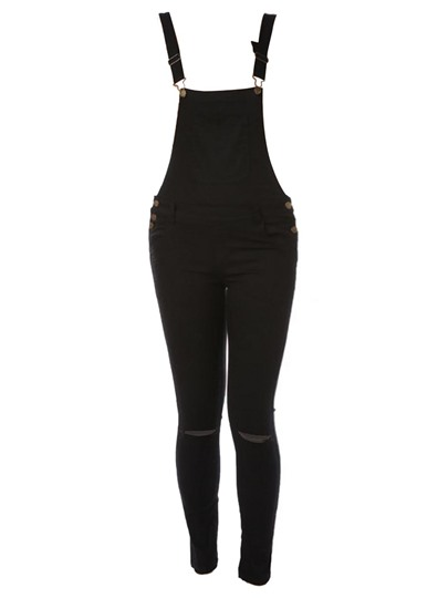 Plain Hole Skinny Women's Overalls