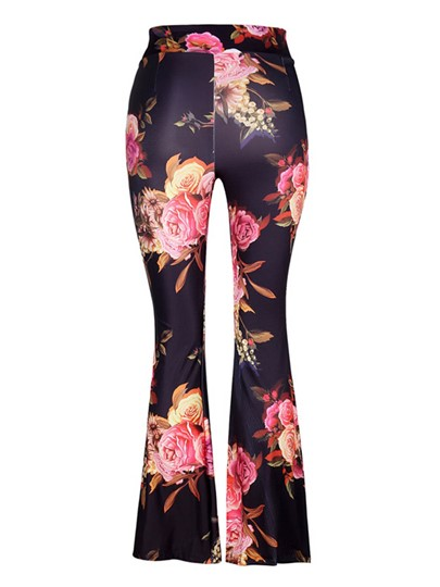 Women's Floral Print Stretch Boho Flare Wide Leg Bell Bottom Pants Trousers