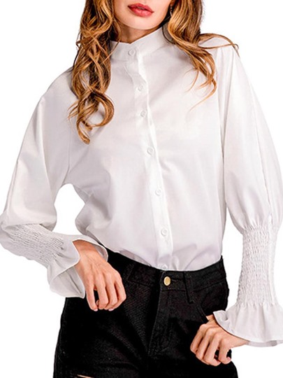 Falbala Flare Sleeve Women's Casual Or Office Blouse