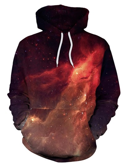 Plain Loose Flame Print Hoodie For Women