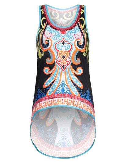 Asymmetric Dashiki Women's African Print Tank Top