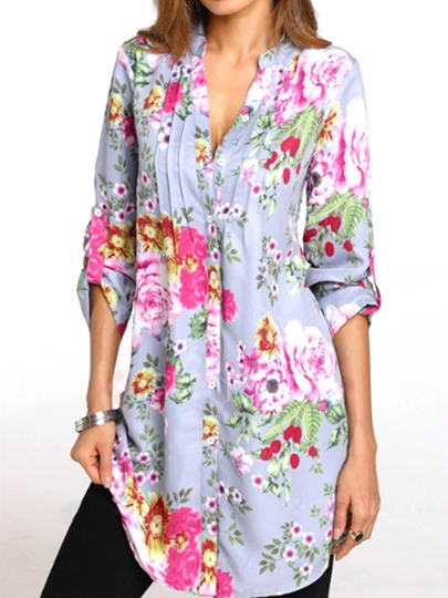 Plain Floral Hawaiian Shirt Women's Blouse