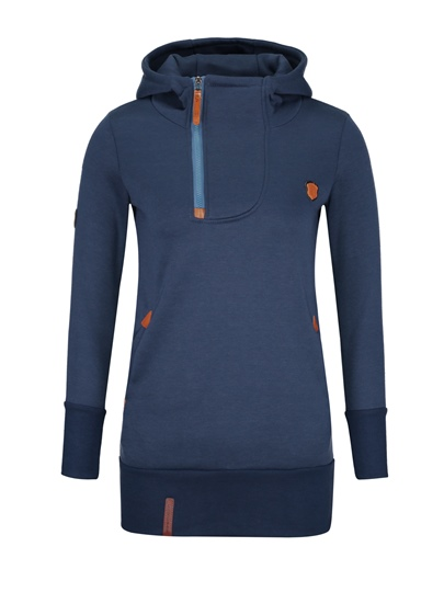 Mid Length Zipper Up Women's Hoodie With Patch