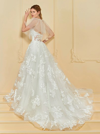 A-Line Appliques Wedding Dress with Shawl