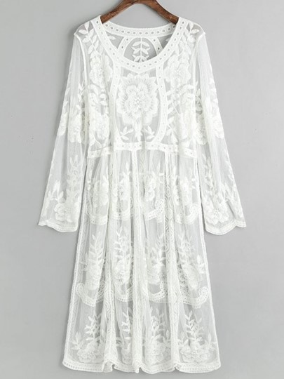 Plain Lace Embroidery A-Line Beach Dress