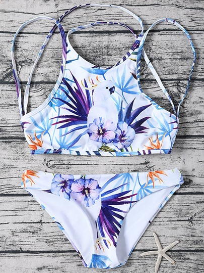 Floral Printing Lace-Up Women's Tankini Set