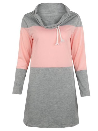 Double Color Block Heap Collar Women's Sweatshirt