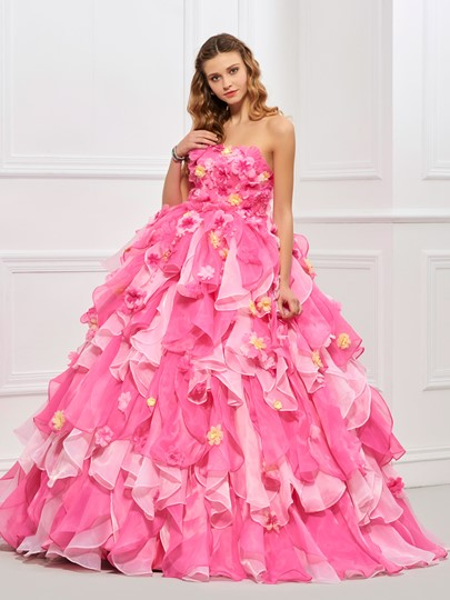 Strapless Cascading Ruffles Flowers Quinceanera Dress