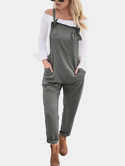 Plain Pocket Loose Women's Overalls