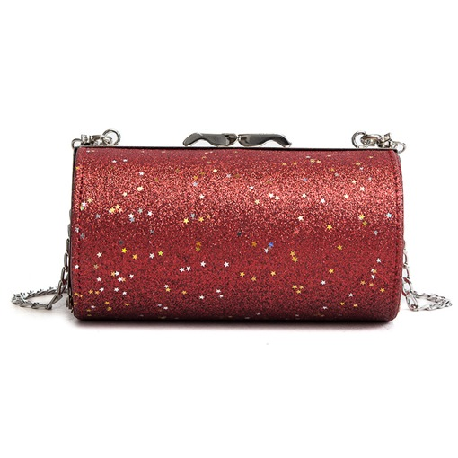 Cylindrical Shape Sequins Cross Body Bag